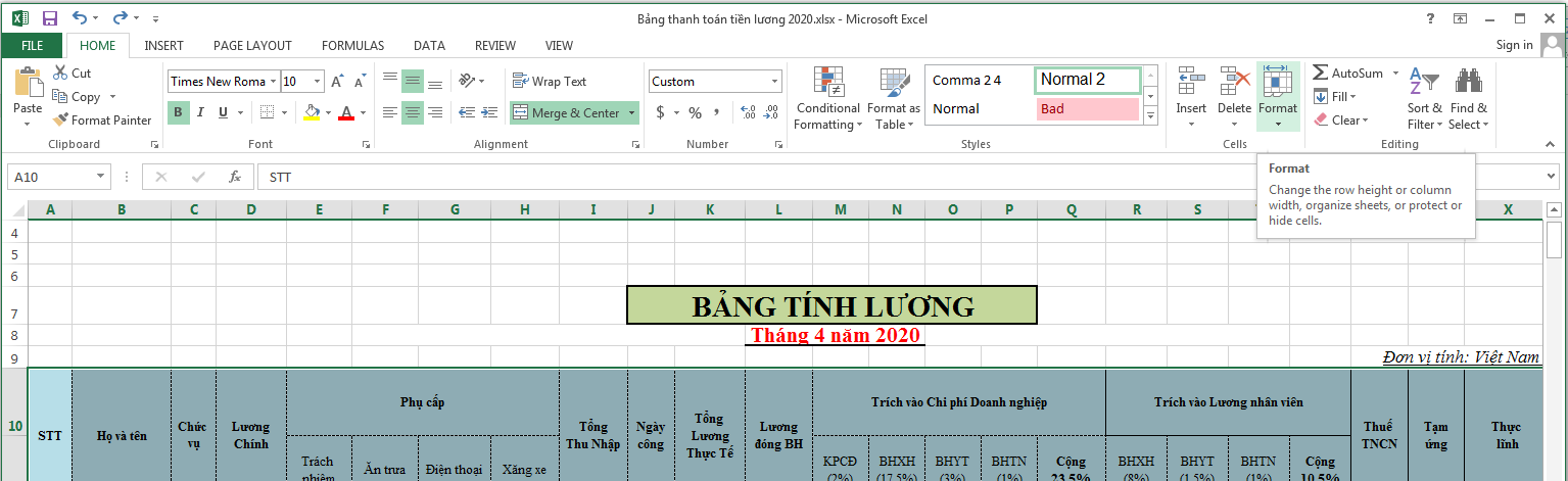 cach-gian-dong-trong-excel